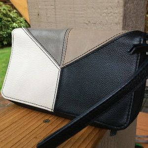 The Sak  tri-color wallet zip around wristlet